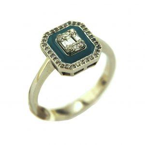 Baguette Enamel Diamond Ring 0,22 Carat - BGT3478
